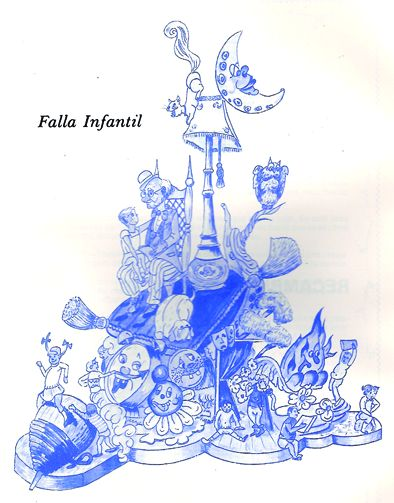 Esbòs Falla Infantil Any: 1984. Artista Faller: Alfonso Diaz - Lema: Coses de xiquets