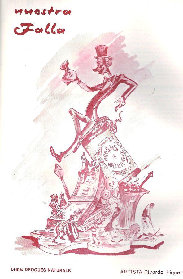 Esbòs Falla Gran Any: 1985. Artista Faller: Ricardo Piquer - Lema: Drogues naturals