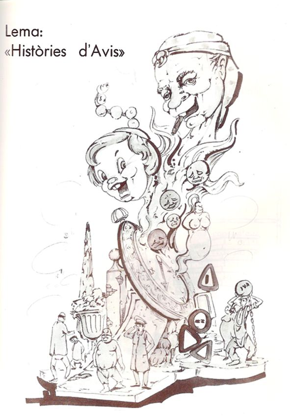 Esbòs Falla Gran Any: 1988. Artista Faller: Jacinto Muñoz - Lema: Històries d'avis
