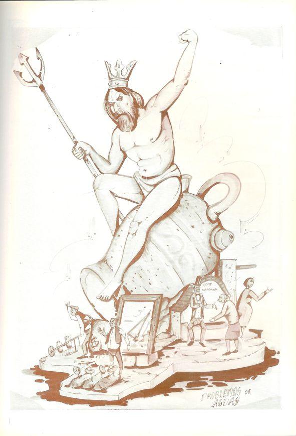 Esbòs Falla Gran Any: 1989. Artista Faller: Jacinto Muñoz - Lema: Problemes d'aigües