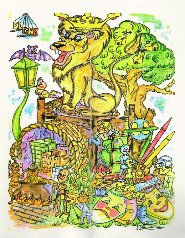Esbòs Falla Infantil Any: 1990. Artista Faller: Carlos Villanueva - Lema: El cine