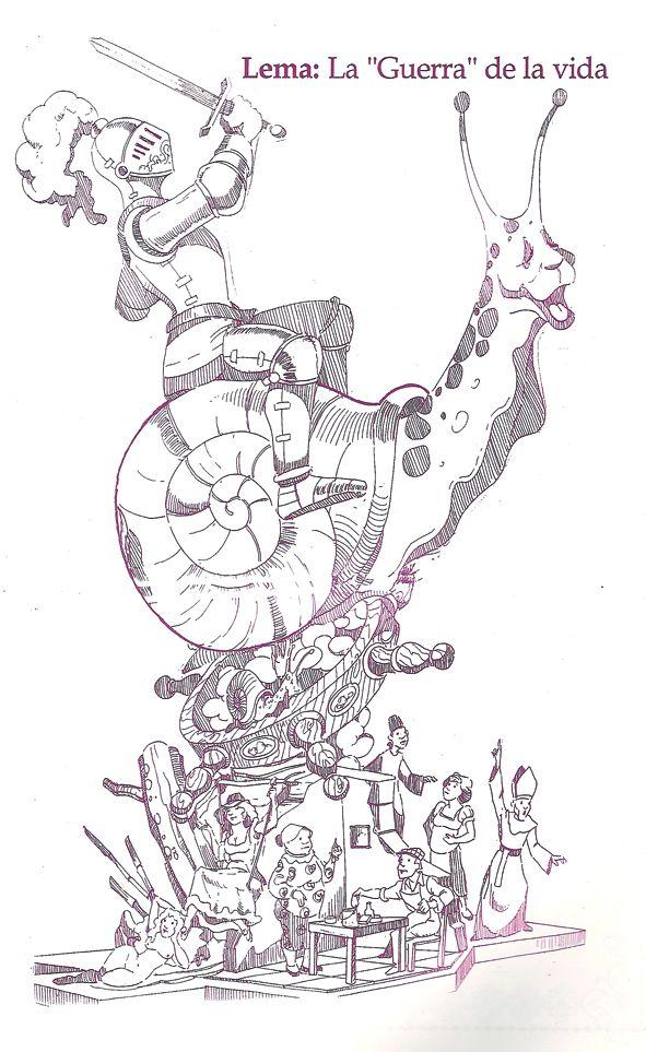 Esbòs Falla Gran Any: 1992. Artista Faller: Federico Contreras Castillo - Lema: La guerra de la vida