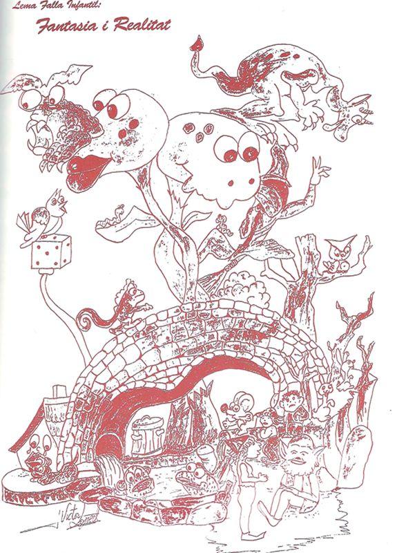 Esbòs Falla Infantil Any: 1994. Artista Faller: Victor Lopez Borras - Lema: Fantasia i realitat