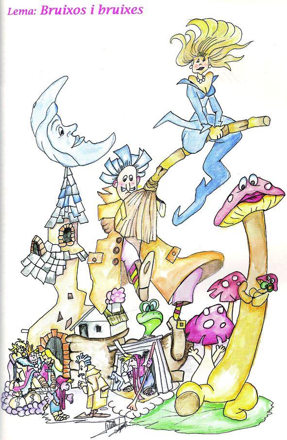 Esbòs Falla Infantil Any: 1995. Artista Faller: Victor Lopez Borras - Lema: Bruixots i bruixes