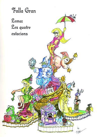 Esbòs Falla Gran Any: 1997. Artista Faller: Toni Fornes - Lema: Les quatre estacions