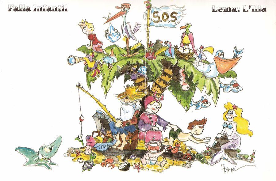 Esbòs Falla Infantil Any: 1997. Artista Faller: Toni Fornes - Lema: L'illa