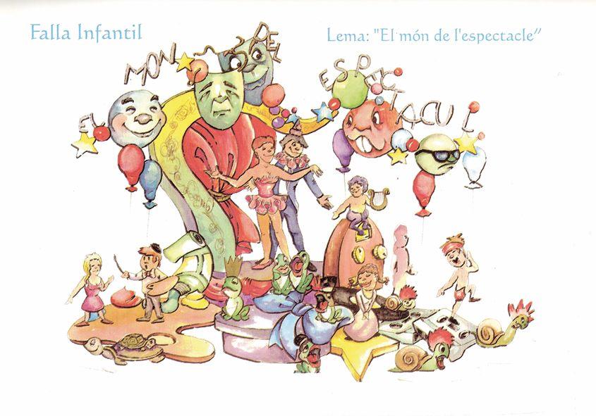 Esbòs Falla Infantil Any: 1999. Artista Faller: Paco Giner - Lema: El món de l'espectacle