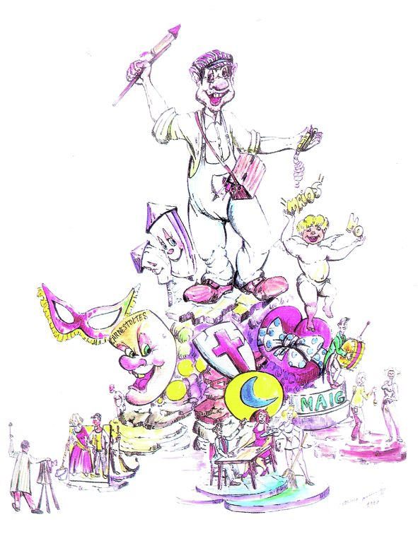 Esbòs Falla Gran Any: 2000. Artista Faller: Francisco Carrasco - Lema: La festa