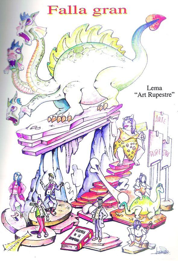 Esbòs Falla Gran Any: 2001. Artista Faller: Jose Luis Perez Ballester - Lema: Art rupestre