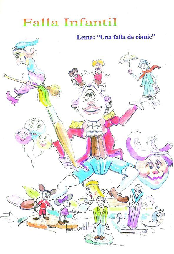 Esbòs Falla Infantil Any: 2001. Artista Faller: Juane Cortell - Lema: Una falla de còmic