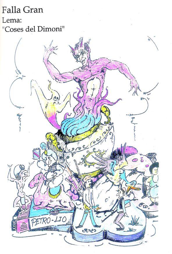 Esbòs Falla Gran Any: 2002. Artista Faller: Luis Miguel Herrero - Lema: Coses del dimoni