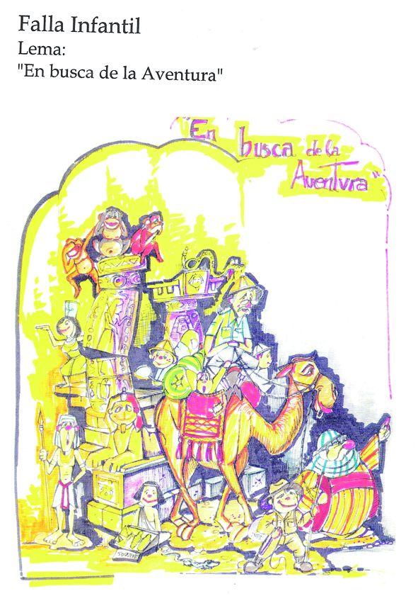 Esbòs Falla Infantil Any: 2002. Artista Faller: Juane Cortell - Lema: En busca de l'aventura