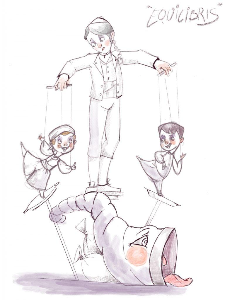 Esbòs Falla Gran Any: 2019. Artista Faller: Roberto Moratalla - Lema: Equilibris
