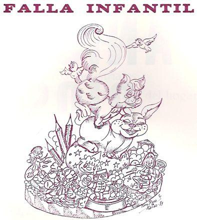 Esbòs Falla Infantil Any: 1982. Artista Faller: Claudio Jose Hernandez Giros - Lema: Món infantil