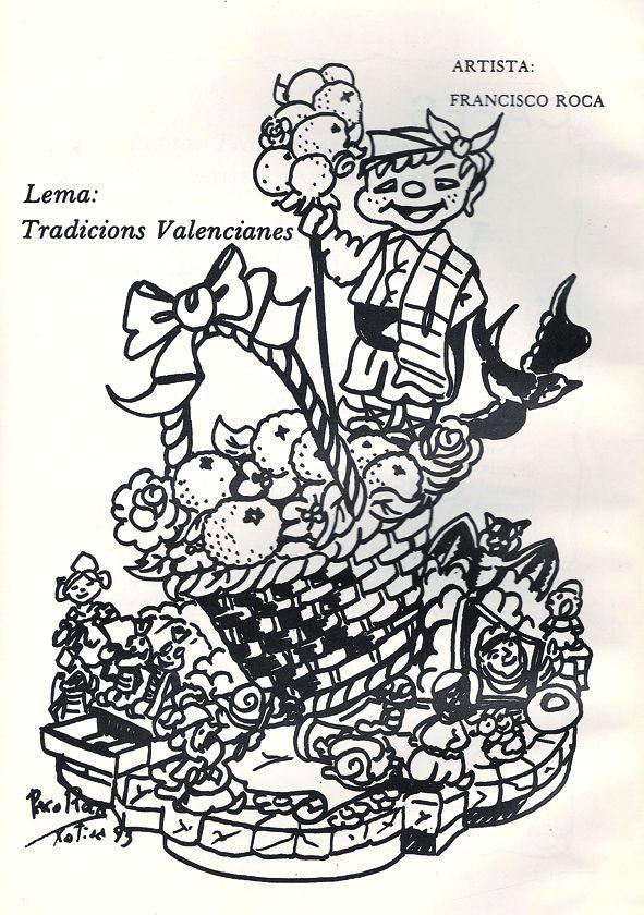 Esbòs Falla Infantil Any: 1983. Artista Faller: Francisco Roca - Lema: Tradicions valencianes