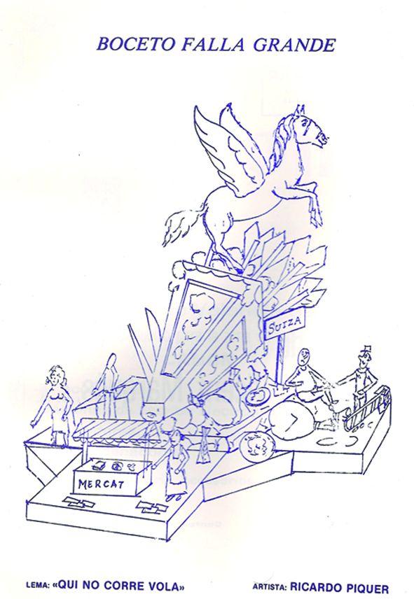 Esbòs Falla Gran Any: 1986. Artista Faller: Ricardo Piquer - Lema: Qui no corre vola