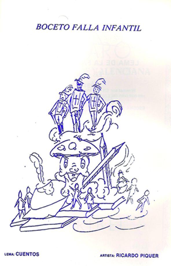 Esbòs Falla Infantil Any: 1986. Artista Faller: Ricardo Piquer - Lema: Contes