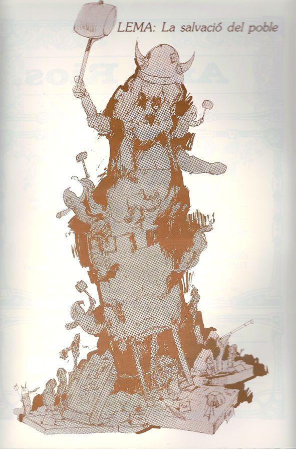 Esbòs Falla Gran Any: 1987. Artista Faller: Ricardo Piquer - Lema: La salvació del poble