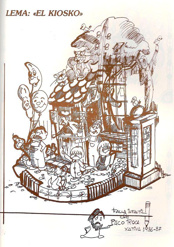 Esbòs Falla Infantil Any: 1987. Artista Faller: Ricardo Piquer - Lema: El quiosc