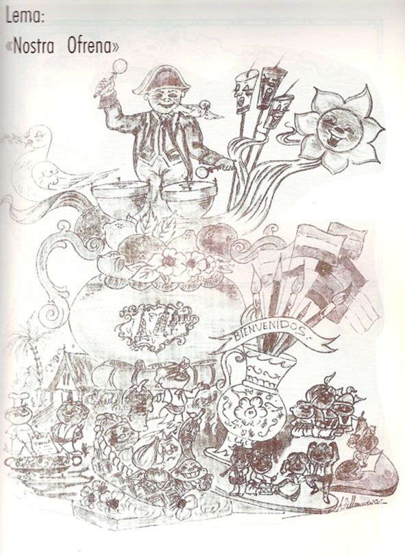 Esbòs Falla Infantil Any: 1988. Artista Faller: Carlos Villanueva - Lema: Nostra ofrena