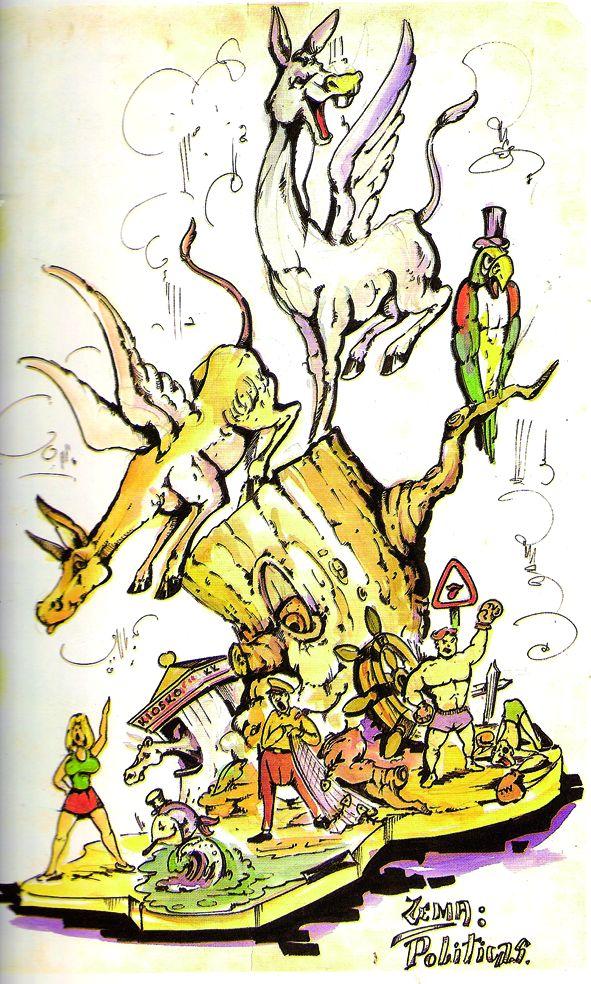Esbòs Falla Gran Any: 1990. Artista Faller: Jacinto Muñoz - Lema: Politíques