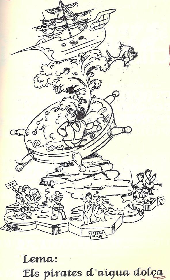 Esbòs Falla Gran Any: 1991. Artista Faller: Juan Carlos Garcia Ibañez - Lema: Els pirates d'aigua dolça