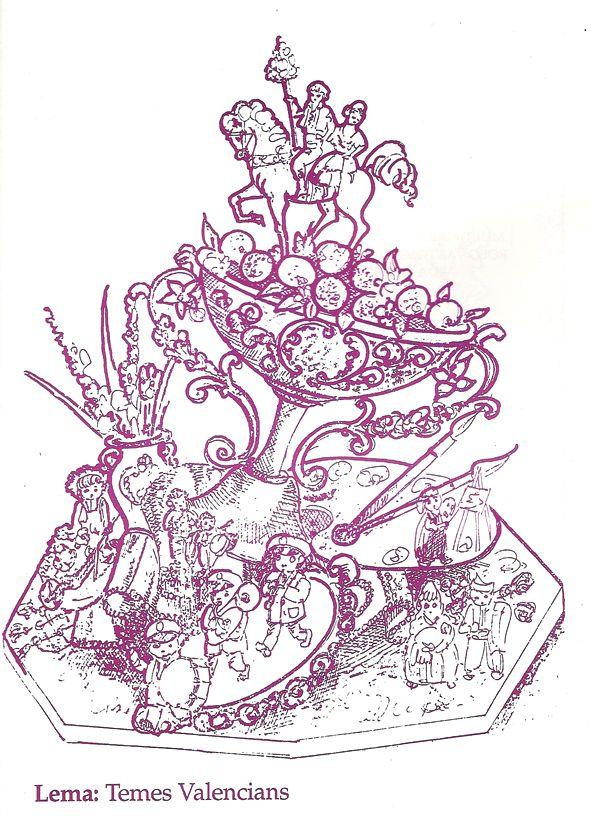 Esbòs Falla Infantil Any: 1992. Artista Faller: Federico Contreras Castillo - Lema: Temes valencians