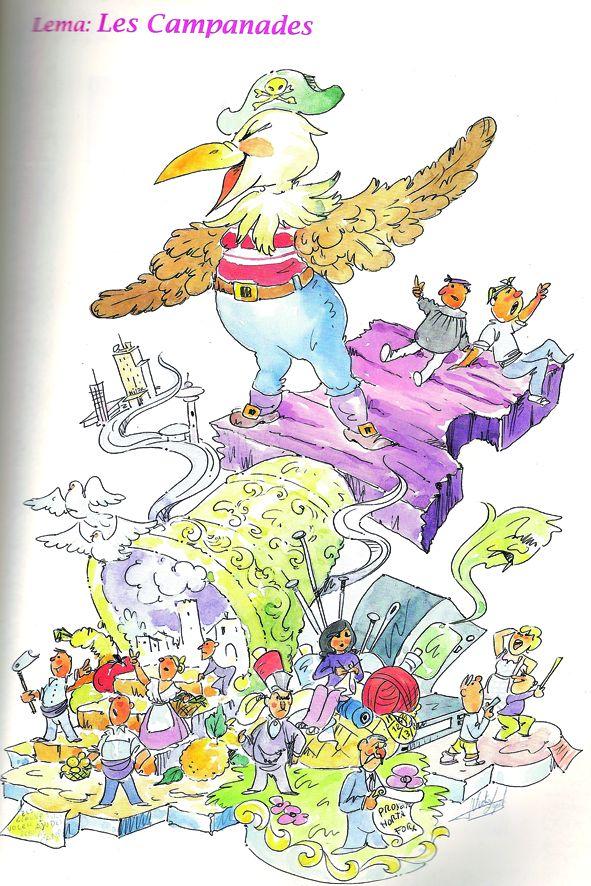 Esbòs Falla Gran Any: 1995. Artista Faller: Victor Lopez Borras - Lema: Les campanades