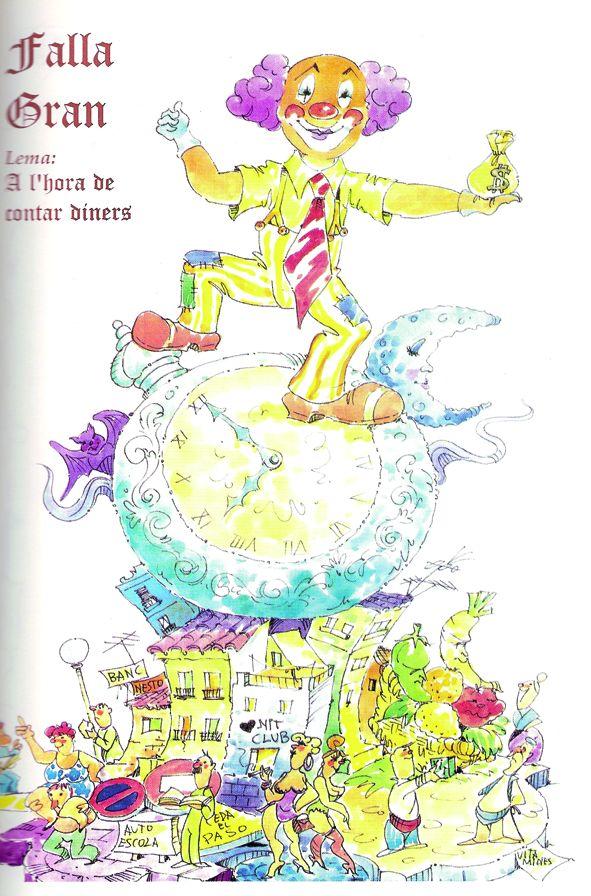 Esbòs Falla Gran Any: 1996. Artista Faller: Victor Lopez Borras - Lema: L'hora de comptar diners