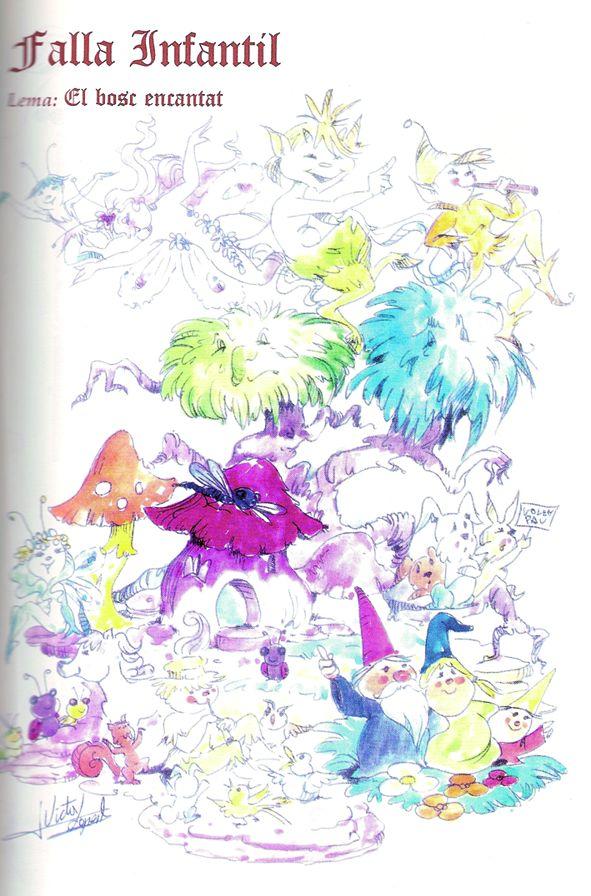 Esbòs Falla Infantil Any: 1996. Artista Faller: Victor Lopez Borras - Lema: El bosc encantat