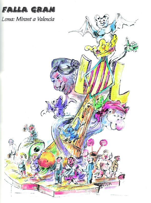 Esbòs Falla Gran Any: 2003. Artista Faller: Jose Luis Carrasco - Lema: Mirant a València