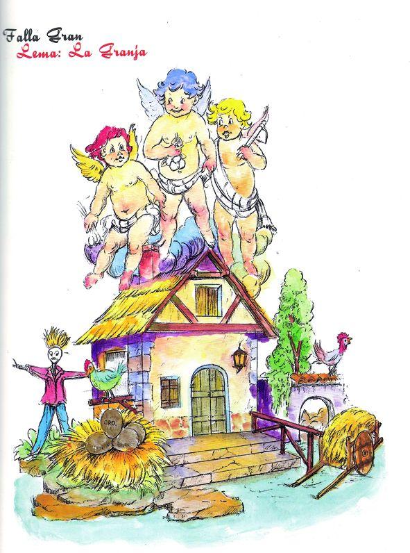 Esbòs Falla Gran Any: 2005. Artista Faller: Vicente Piera - Lema: La granja