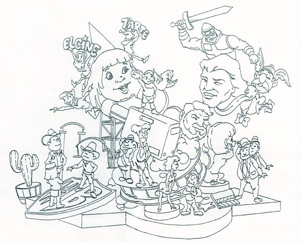 Esbòs Falla Infantil Any: 2005. Artista Faller: Enrique Oliver - Lema: El cine 7é art