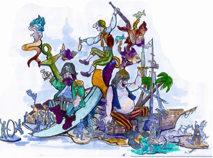 Esbòs Falla Gran Any: 2007. Artista Faller: Jesus Andreu - Lema: Pirates de segle XXI