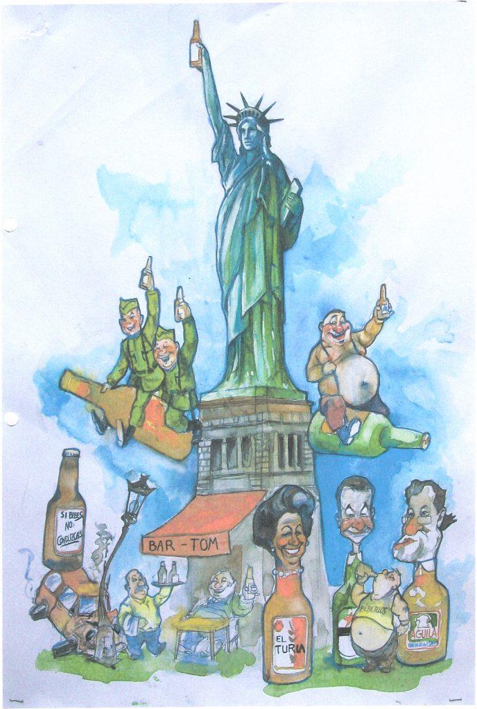 Esbòs Falla Gran Any: 2012. Artista Faller: Paco Real i Manolo Lorca - Lema: Volem els quints, però de cervesa