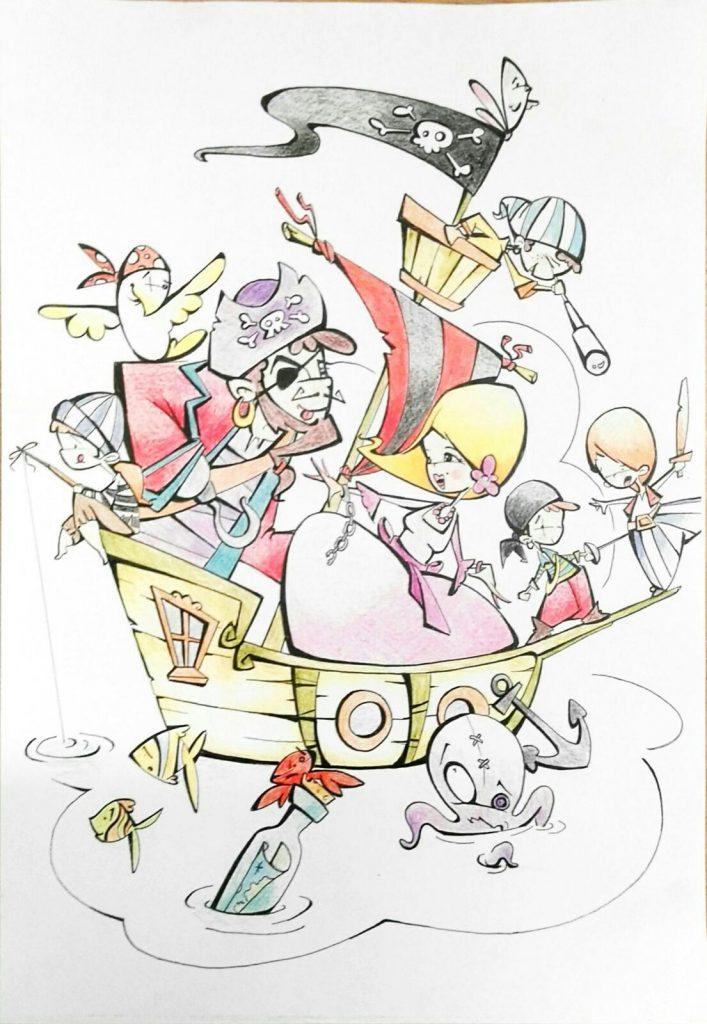 Esbòs Falla Infantil Any: 2016. Artista Faller: Alvaro Guija - Lema: Una de pirates